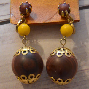 Hong Kong wood bead yellow drop dangle earrings
